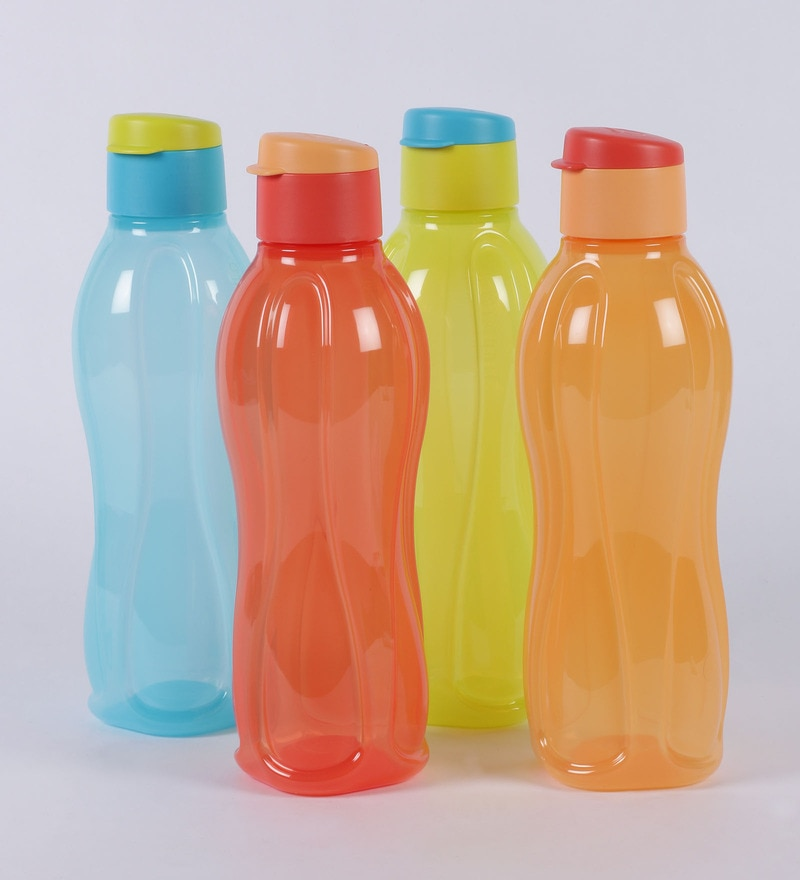 Tupperware Multicolor Plastic Round 1000 ML Fliptop Bottle - Set of 6