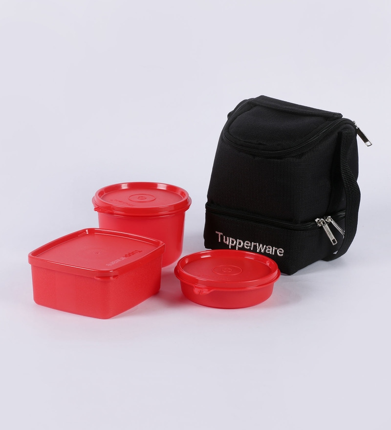 buy tupperware trendy lunch box with insulated bag 3 containers 1 bag red colour online. Black Bedroom Furniture Sets. Home Design Ideas