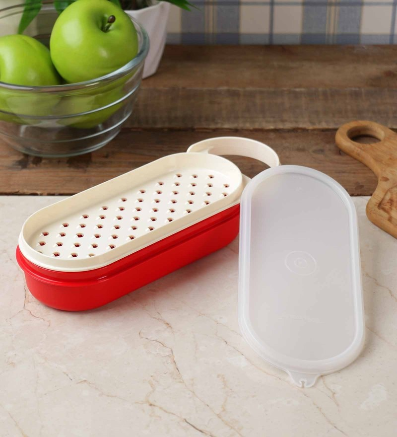 Tupperware Red and White Polypropylene 500 ML Handy Grater
