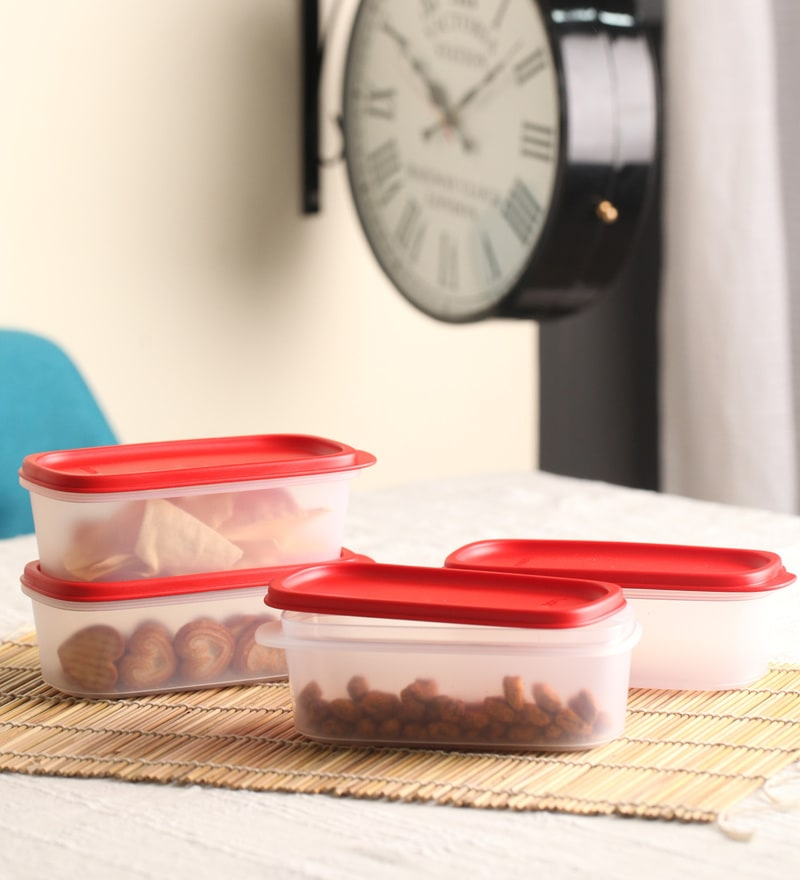 Tupperware Smart Saver Red Rectangle 500 ML Airtight Container - Set of 4