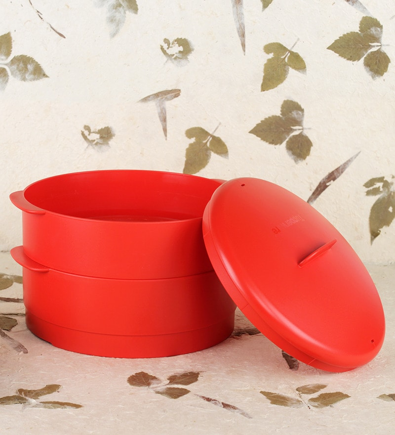 Tupperware Red Plastic 3 L Steam It Steamer