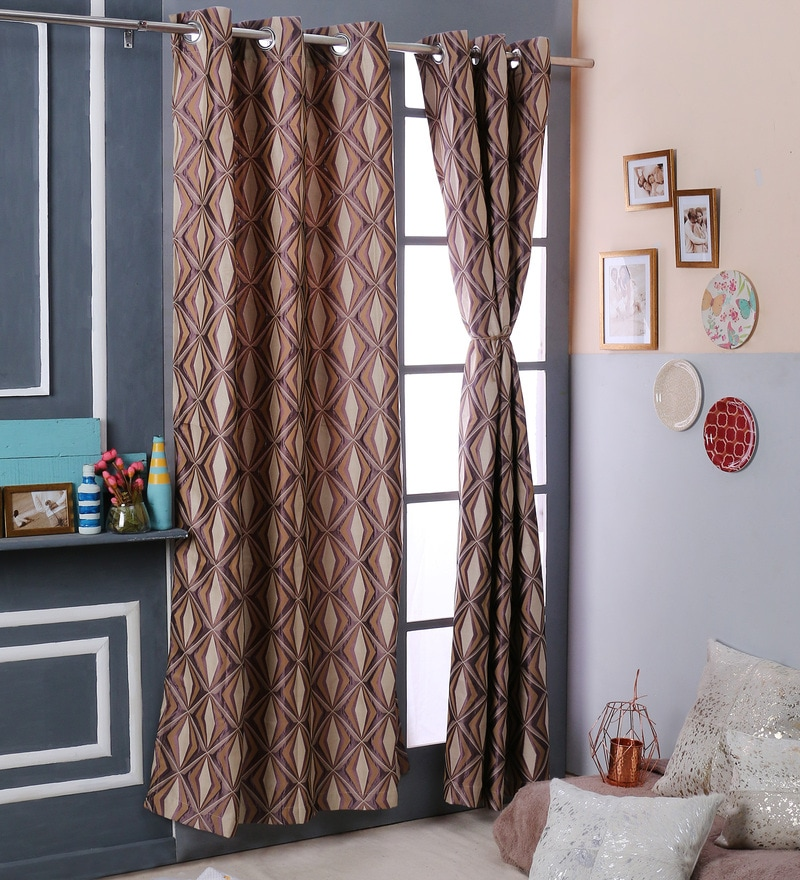 Brown Polyester 47 x 108 Inch Jacquard Door Curtains - Set of 2 by Turkish Bath