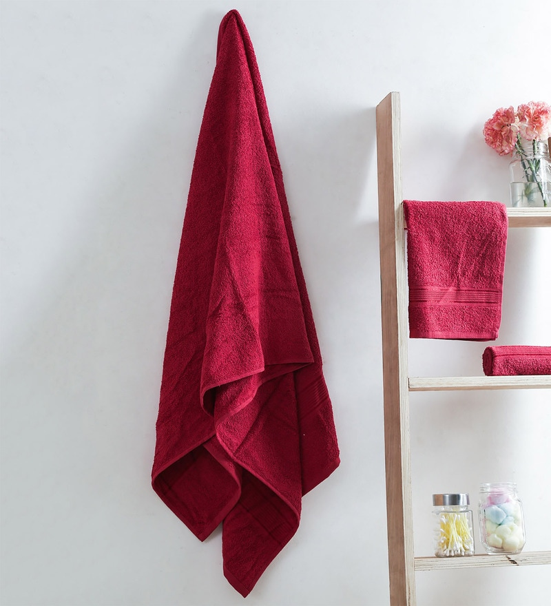 Red Cotton 28 x 60 Inch Towel - Set of 3 by Turkish Bath