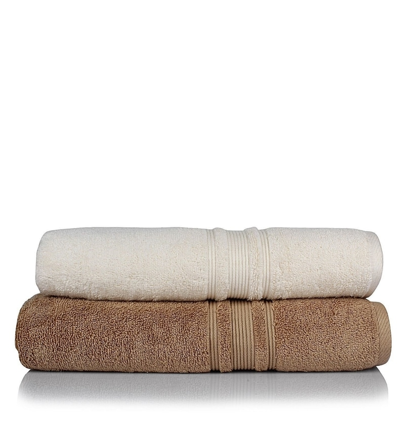 Turkish Bath White and Brown 100% Cotton 30 x 56 Bath Towel - Set of 2