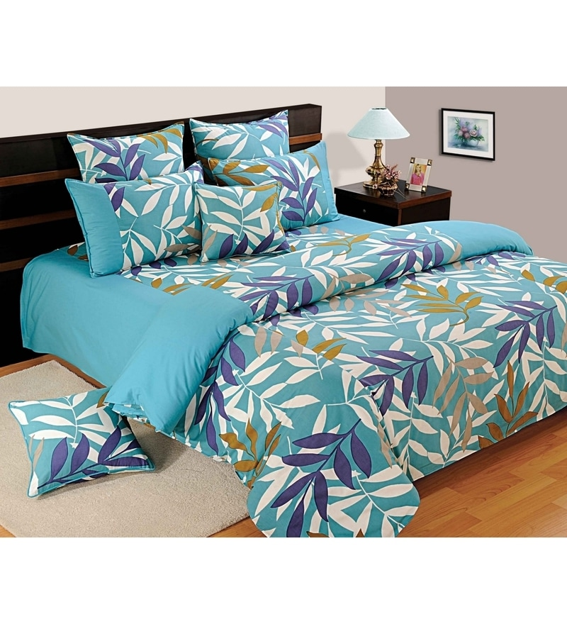 Turquoise Cotton King Size Bedsheet - Set of 3 by Swayam