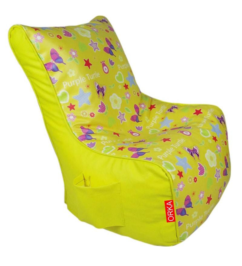 Digital Printed Kids Bean Bag Chair Cover in Multicolour by Orka
