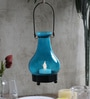 Tu Casa Blue Hanging Glass Candle Holder With Wax Candle