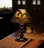 Green & Gold Poly Cotton Table Lamp by The Light House