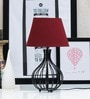 Maroon Poly Cotton Oval Lamp Shade by Tu Casa