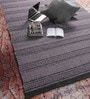 Black & Grey Wool 90 x 63 Inch Geometric Carpet by Tulsiram Rugs