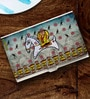 Multicolour Folk Expression Lady Warrior Stainless Steel Card Holder by Tungs10
