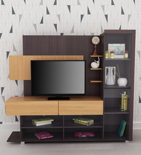 Buy Tv Unit With Four Glass Doors In Brown Wenge Colour By Eros