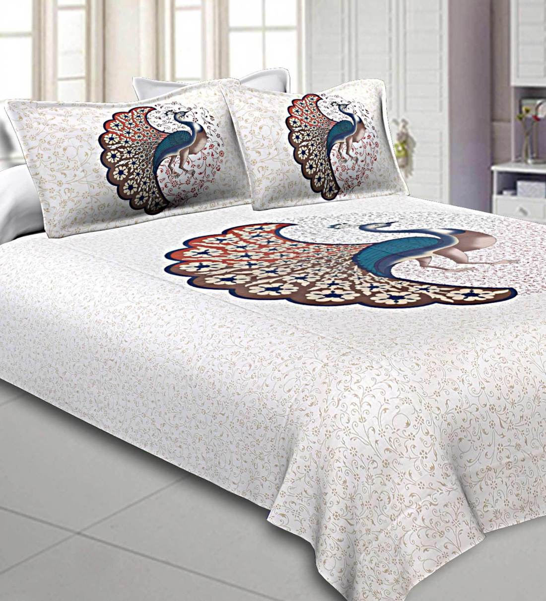 Buy Cotton 240tc King Size Bedsheet With 2 Pillow Covers Online Traditional King Bed Sheets Bed Sheets Furnishings Pepperfry Product