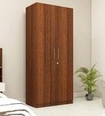 Two Door Compact Wardrobe in MDF with Classic Walnut Finish