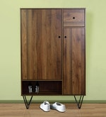 Two Door Shoe Cabinet in Columbia Brown Finish