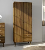 Two Door Wardrobe with External Drawers in Columbia Walnut Finish