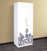 Two Door Wardrobe with Floral Design in White Colour
