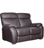 Two Seater Half Leather Recliner Sofa in Brown Colour