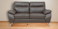 Two Seater Half Leather Sofa in Brown Colour