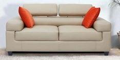Carelino Two Seater Sofa with Headrest in Cream Colour