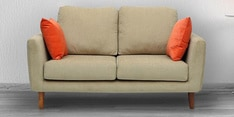 Panache Two Seater Sofa with Cushions in Beige Colour