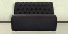 Two Seater Sofa with Tufted Back in Black Colour