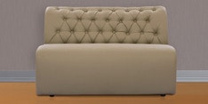 Two Seater Sofa with Tufted Back in Muslin Beige Colour