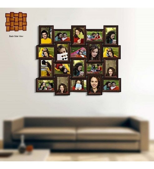 Brown Synthetic Wood Photo Collage Frame by by snap Galaxy