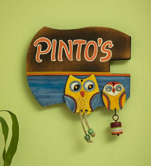 Twin Owl Motifs Customizable Wooden Name Plate (Handwritten Fonts) By  ExclusiveLane