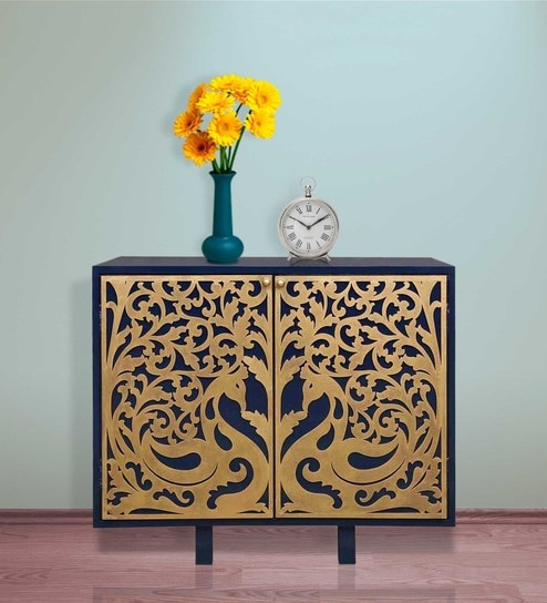 Buy Two Door Cabinet With Gold Peacock Design By Woodpecker