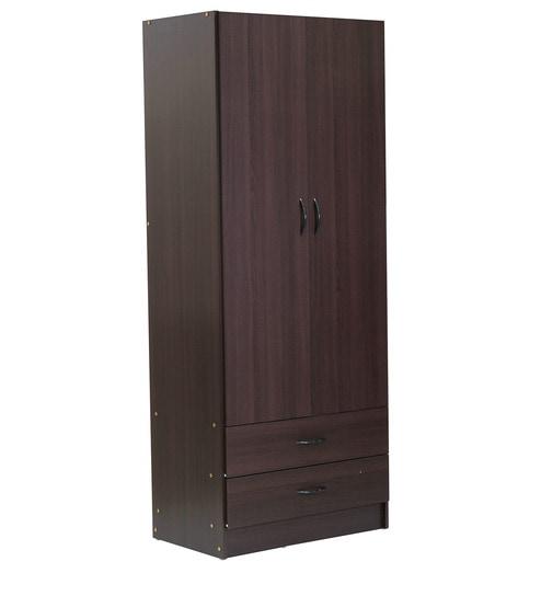 buy nanashu two door wardrobe with storage shelves in chocolate rh pepperfry com 2 door wardrobe with shelf 2 door wardrobe with shelves