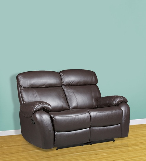 Two Seater Half Leather Manual Recliner Sofa In Brown Colour By Star India Online Recliners Furniture Pepperfry Product