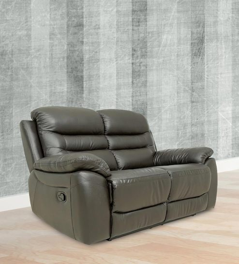 Two Seater Motorized Recliner Sofa In Half Leather Dark Brown Colour By Star India Online Recliners Furniture Pepperfry