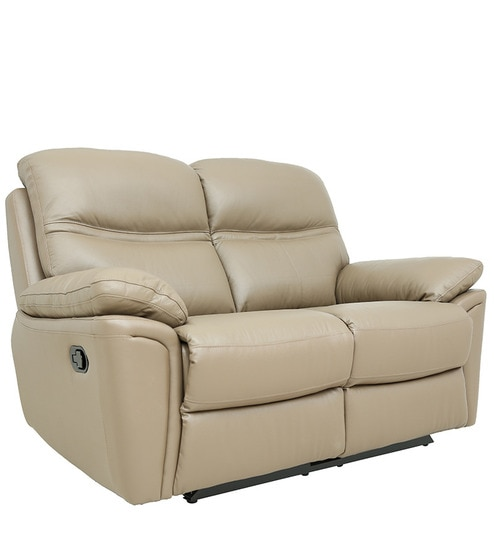 Two Seater Motorized Recliner Sofa In Half Leather Taupe Colour By Star India Online Recliners Furniture Pepperfry Product