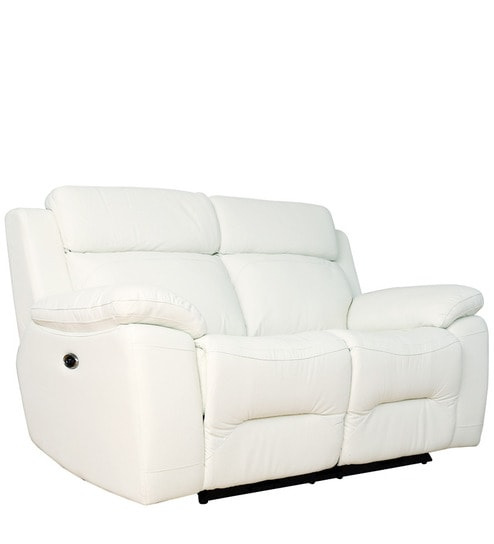 Two Seater Motorized Recliner Sofa In Half Leather White Colour By Star India