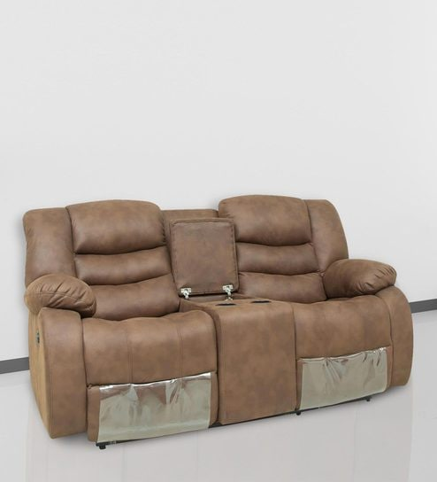 Two Seater Motorized Recliner With Center Console For Storage Cupholder In Brown Colour By Star