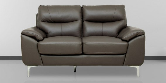 Two Seater Half Leather Sofa In Grey Colour By Star India