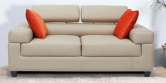 Carelino Two Seater Sofa With Adjule Headrest In Cream Colour By Vittoria