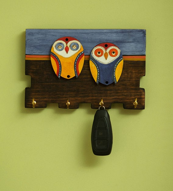 Buy Brown Blue Twin Owl Motifs Wooden Key Holder 4 Hooks By Exclusivelane Online Traditional Key Holders Key Holders Home Decor Pepperfry Product