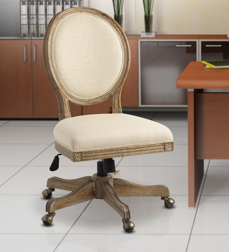 Buy Paige Round Back Office Chair In Natural Linen By Twigs Direct Online Mid Back Executive Chairs Chairs Furniture Pepperfry Product