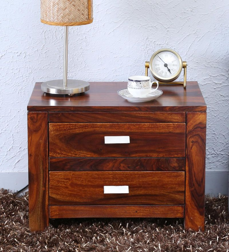 Oriel Two Drawer Bed Side Table in Honey oak Finish by Woodsworth