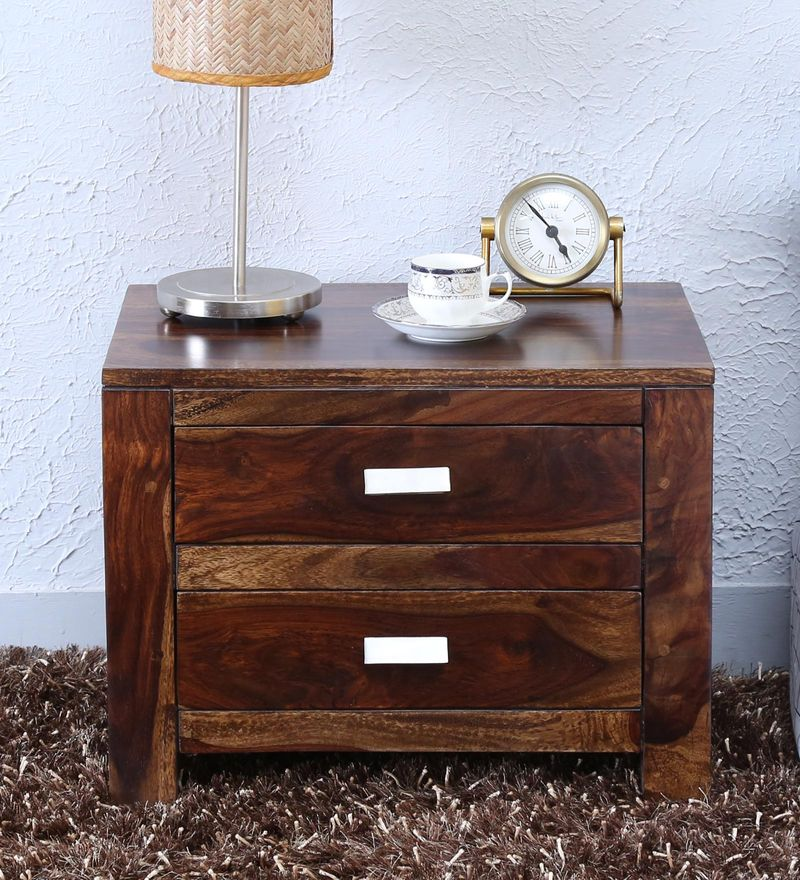 Oriel Two Drawer Bed Side Table in Provincial Teak Finish by Woodsworth