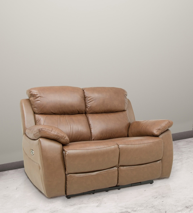 Two Seater Motorized Half Leather Recliner in Cappuccino Colour by Star India
