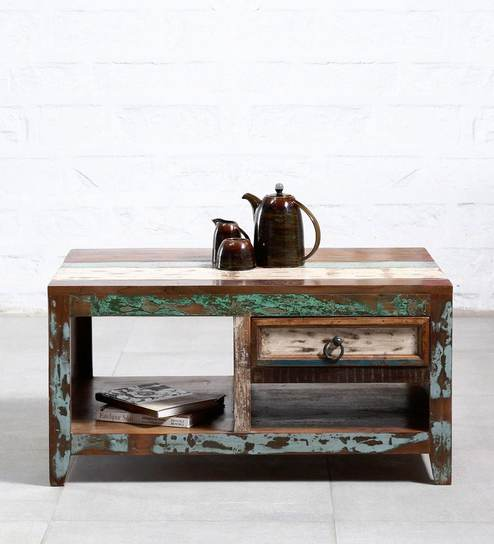 Tynisha Solid Wood Coffee Table In Distress Finish By Bohemiana