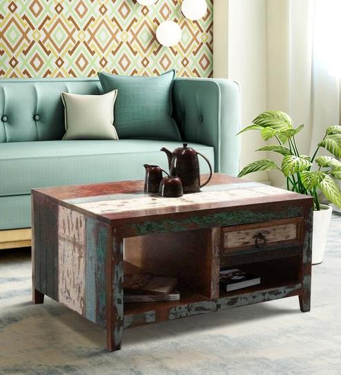 Tynisha Solid Wood Coffee Table in Distress Finish by Bohemiana