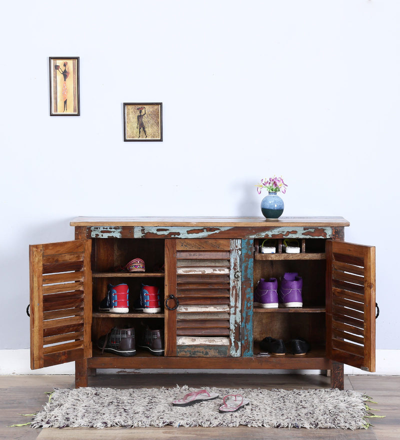 Tynisha Shoe Rack in Distress Finish by Bohemiana