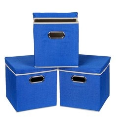 Uberlyfe Cardboard 25 L Blue Storage Boxes - Set Of 3