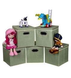 Uberlyfe Cardboard 25 L Green Storage Boxes - Set Of 5