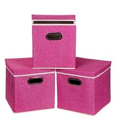 Uberlyfe Cardboard 25 L Pink Storage Boxes - Set Of 3