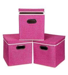 Uberlyfe Cardboard 25 L Pink Storage Boxes - Set Of 3